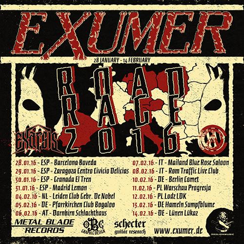 Exumer tour dates